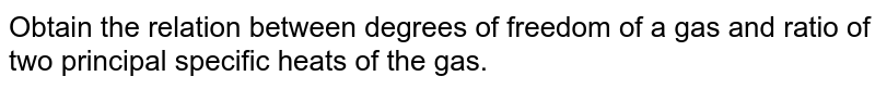 Obtain the relation between degrees of freedom of a gas and ratio of two principal specific heats of the gas.