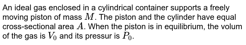 An ideal gas enclosed in a cylindrical container supports a freely moving piston of mass `M`. The piston and the cylinder have equal cross-sectional area `A`. When the piston is in equilibrium, the volum of the gas is `V_(0)`  and its pressur is `P_(0)`. The pistong is slightly displaced from the equilibrium position and released. Assuming that the system is completely isolated from its surrounding, the piston executes a simple harmonic motion with frequency