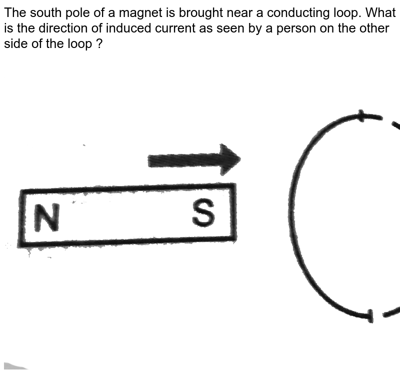 """The south pole of a magnet is brought near a conducting loop. What is the direction of induced current as seen by a person on the other side of the loop ? <br> <img src=""""https://d10lpgp6xz60nq.cloudfront.net/physics_images/PR_XII_V01_C04_S01_093_Q01.png"""" width=""""80%"""">"""