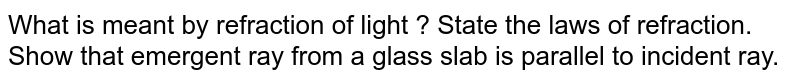 What is meant by refraction of light ? State the laws of refraction. Show that emergent ray from a glass slab is parallel to incident ray.