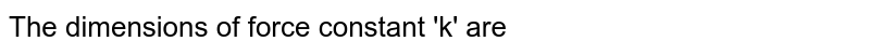 The dimensions of force constant 'k' are