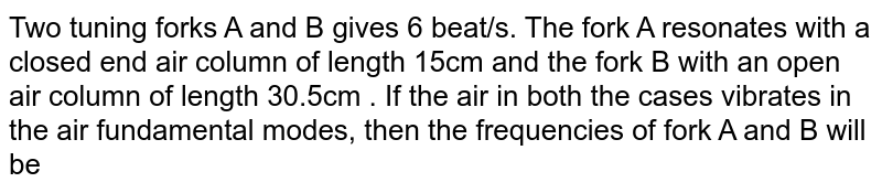 Two tuning forks A and B gives 6 beat/s. The fork A resonates with a closed end air column of length 15cm and the fork B with an open air column of length 30.5cm . If the air in both the cases vibrates in the air fundamental modes, then the frequencies of fork A and B will be