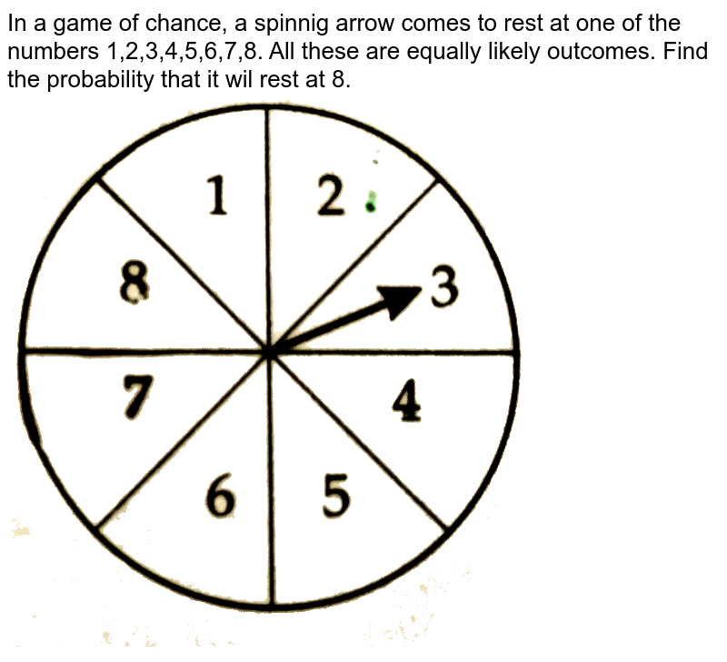 """In a game of chance, a spinnig arrow comes to rest at one of the numbers 1,2,3,4,5,6,7,8. All these are equally likely outcomes. Find the probability that it wil rest at 8. <br>  <img src=""""https://d10lpgp6xz60nq.cloudfront.net/physics_images/CTN_MK_X_P1_ALG_C05_E05_012_Q01.png"""" width=""""80%"""">"""
