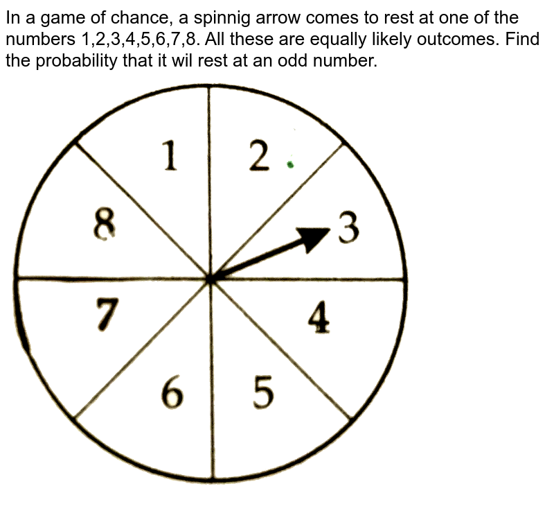 """In a game of chance, a spinnig arrow comes to rest at one of the numbers 1,2,3,4,5,6,7,8. All these are equally likely outcomes. Find the probability that it wil rest at an odd number. <br>  <img src=""""https://d10lpgp6xz60nq.cloudfront.net/physics_images/CTN_MK_X_P1_ALG_C05_E05_013_Q01.png"""" width=""""80%"""">"""
