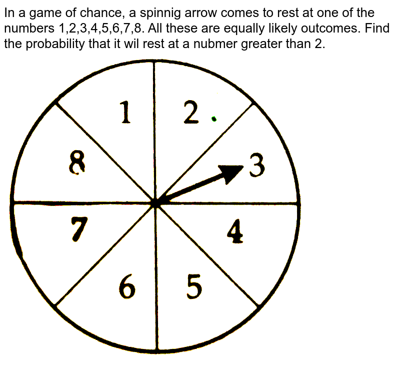 """In a game of chance, a spinnig arrow comes to rest at one of the numbers 1,2,3,4,5,6,7,8. All these are equally likely outcomes. Find the probability that it wil rest at a nubmer greater than 2. <br>  <img src=""""https://d10lpgp6xz60nq.cloudfront.net/physics_images/CTN_MK_X_P1_ALG_C05_E05_014_Q01.png"""" width=""""80%"""">"""