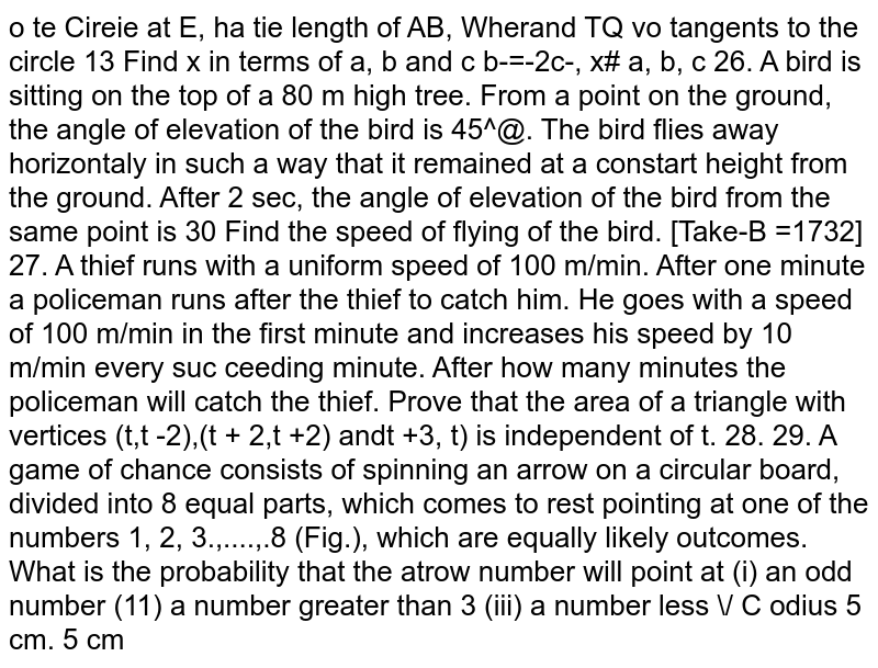 Prove that the area of a triangle with vertices (t, t -2), (t +2, t + 2) and(t + 3, t) is independent of t.