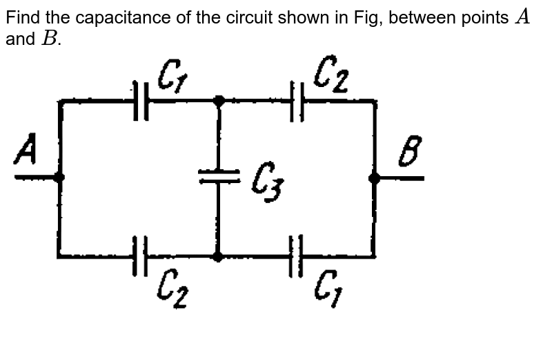 """Find the capacitance of the circuit shown in Fig, between points `A` and `B`. <br> <img src=""""https://d10lpgp6xz60nq.cloudfront.net/physics_images/IROD_V01_C03_E01_126_Q01.png"""" width=""""80%"""">"""