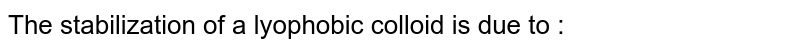 The stabilization of a lyophobic colloid is due to :