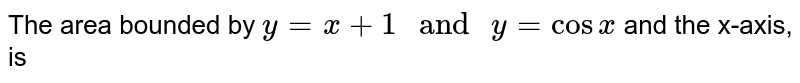 """The area bounded by `y=x+1"""" and """"y=cosx` and the x-axis, is"""