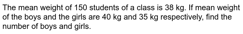 The mean weight of 150 students of a class is 28 kg. If mean weight of the boys and the girls are 40 kg and 35 kg respectively, find the number of boys and girls.