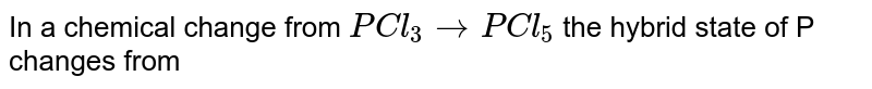 In a change from ` PCl_(3) to PCl_(5) ` , the hybrid state of P change from