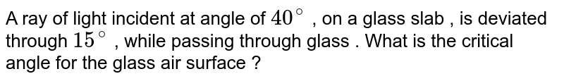 A ray of light incident at angle of `40^(@)` , on a glass slab , is deviated  through `15^(@)` , while passing through glass . What is the critical angle for the glass air surface ?