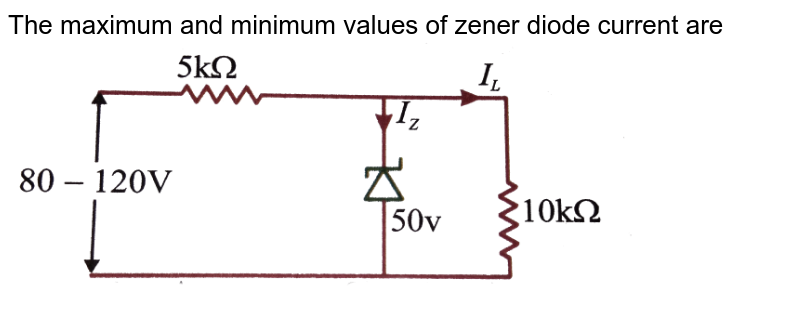 """The maximum and minimum values of zener diode current are <br>  <img src=""""https://d10lpgp6xz60nq.cloudfront.net/physics_images/NAR_PHY_XII_V06_C03_E01_695_Q01.png"""" width=""""80%"""">"""