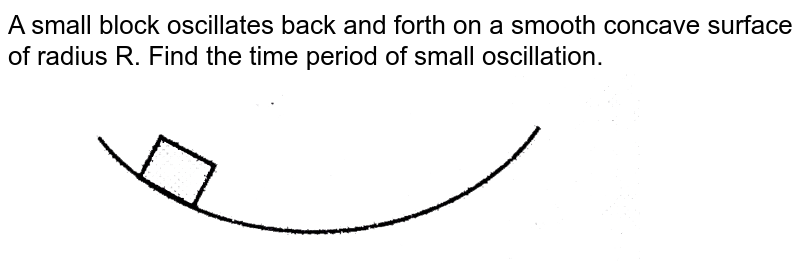 """A small block oscillates back and forth on a smooth concave surface of radius R. Find the time period of small oscillation. <br> <img src=""""https://d10lpgp6xz60nq.cloudfront.net/physics_images/CPS_V01_C13_S01_032_Q01.png"""" width=""""80%"""">"""