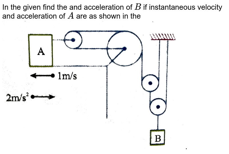 """In the given find the and acceleration of `B` if instantaneous velocity and acceleration of `A` are as shown in the <br> <img src=""""https://d10lpgp6xz60nq.cloudfront.net/physics_images/NAR_PHY_XI_V02_C01_E01_288_Q01.png"""" width=""""80%""""> ."""