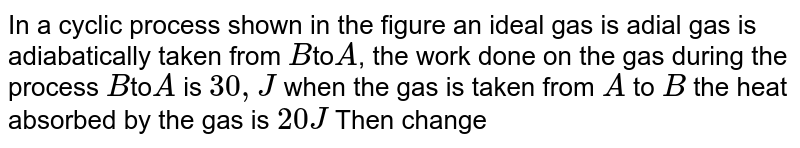 """In a cyclic process shown in the figure an ideal gas is adial gas is adiabatically taken from `B`to`A`, the work done on the gas during the process `B`to`A` is `30,J` when the gas is taken from `A` to `B` the heat absorbed by the gas is `20 J` Then change in internat energy of the gas in the process `A` to `B` is : <br> <img src=""""https://d10lpgp6xz60nq.cloudfront.net/physics_images/NAR_PHY_XI_V06_C02_E01_013_Q01.png"""" width=""""80%"""">"""