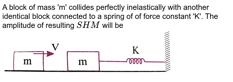 """A block of mass 'm' collides perfectly inelastically with another identical block connected to a spring of of force constant 'K'. The amplitude of resulting `SHM` will be <br> <img src=""""https://d10lpgp6xz60nq.cloudfront.net/physics_images/NAR_PHY_XI_V04_C01_E01_187_Q01.png"""" width=""""80%"""">"""