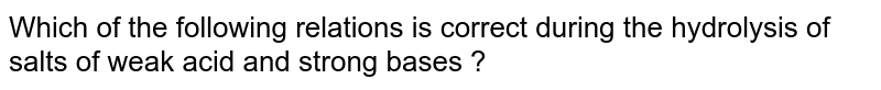 Which of the following relations is correct during the hydrolysis of salts of weak acid and strong bases ?