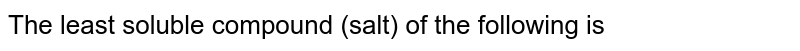The least soluble compound (salt) of the following is