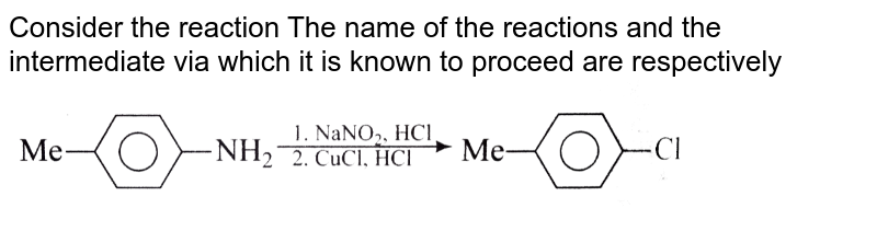 """Consider the reaction The name of the reactions and the intermediate via which it is known to proceed are respectively <br> <img src=""""https://d10lpgp6xz60nq.cloudfront.net/physics_images/RS_P2_CHM_C14_E01_149_Q01.png"""" width=""""80%"""">"""