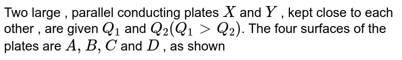 """Two large , parallel conducting plates `X` and `Y` , kept close to each other , are given `Q_(1)` and `Q_(2) (Q_(1) gt Q_(2))`. The four surfaces of the plates are `A,B,C` and `D` , as shown <br> <img src=""""https://d10lpgp6xz60nq.cloudfront.net/physics_images/CPS_V02_C01_E01_211_Q01.png"""" width=""""80%""""> <br> (i) The charge on `A` is `(1)/(2) (Q_(1) + Q_(2))` <br> (ii) The charge on `B` is `(1)/(2) (Q_(1) - Q_(2))` <br> (iii) The charge on `C` is `(1)/(2) (Q_(2) - Q_(1))` <br> (iv) The charge on `D` is `(1)/(2) (Q_(1) + Q_(2))`"""