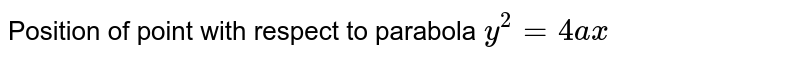 Position of point with respect to parabola `y^2=4ax`