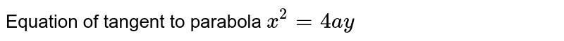 Equation of tangent to parabola `x^2 = 4ay`