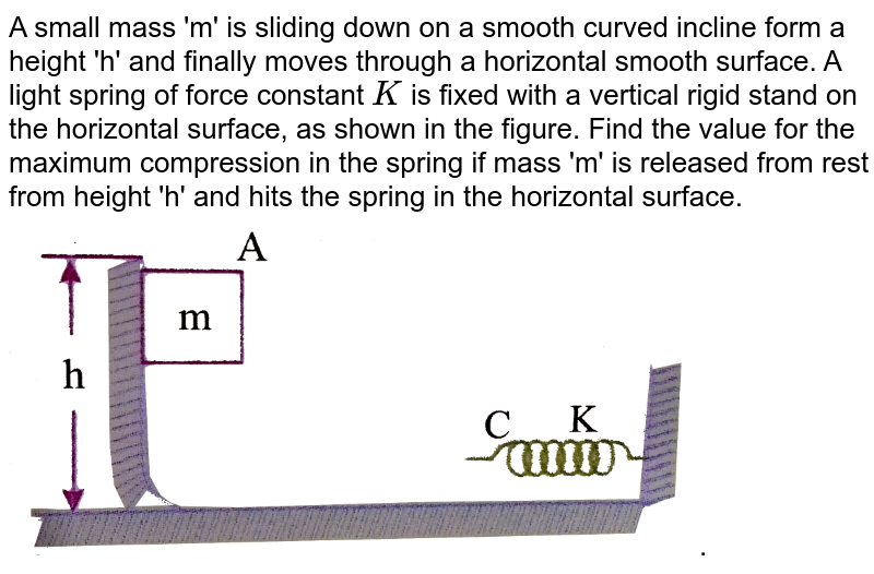 """A small mass 'm' is sliding down on a smooth curved incline form a height 'h' and finally moves through a horizontal smooth surface. A light spring of force  constant `K` is fixed with a vertical rigid stand on the horizontal surface, as shown in the figure. Find the value for the maximum compression in the spring if mass 'm' is released from rest from height 'h' and hits the spring in the horizontal surface. <br> <img src=""""https://d10lpgp6xz60nq.cloudfront.net/physics_images/NAR_PHY_XI_V02_C04_S01_026_Q01.png"""" width=""""80%"""">."""