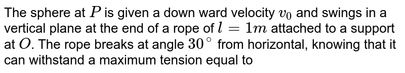 """The sphere at `P` is given a down ward velocity `v_(0)` and swings in a vertical plane at the end of a rope of `l = 1m` attached to a support at `O`. The rope breaks at angle `30^@` from horizontal, knowing that it can withstand a maximum tension equal to four times the weight of the sphere. then the value of `v_(0)` will be `(g = 10 m//s^(2))`. <br> <img src=""""https://d10lpgp6xz60nq.cloudfront.net/physics_images/NAR_PHY_XI_V02_C04_E01_431_Q01.png"""" width=""""80%"""">."""