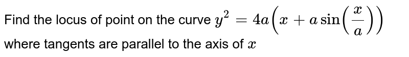 Find the locus of point on the curve `y^2=4a(x+a sin(x/a))` where tangents are parallel to the axis of `x`