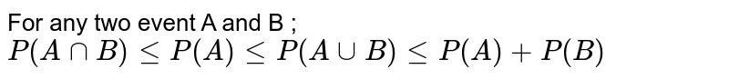 For any two event A and B ; `P(AnnB)leP(A)leP(AuuB)leP(A)+P(B)`