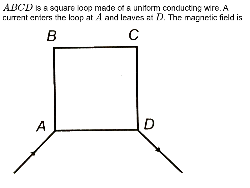"""`ABCD` is a square loop made of a uniform conducting wire. A current enters the loop at `A` and leaves at `D`. The magnetic field is <br> <img src=""""https://d10lpgp6xz60nq.cloudfront.net/physics_images/CPS_V02_C05_E01_016_Q01.png"""" width=""""80%"""">"""