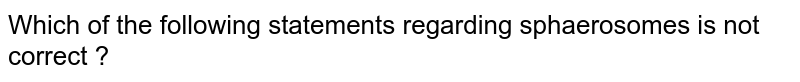 Which of the following statements regarding sphaerosomes is not correct ?