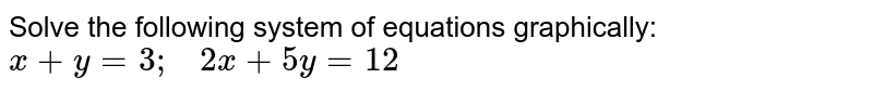 Solve the following   system of equations graphically: `x+y=3;\ \ \ 2x+5y=12`