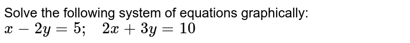 Solve the following   system of equations graphically: `x-2y=5;\ \ \ 2x+3y=10`