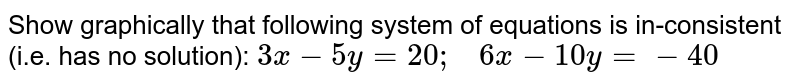 Show graphically that   following system of equations is in-consistent (i.e. has no solution): `3x-5y=20 ;\ \ \ 6x-10 y=-40`