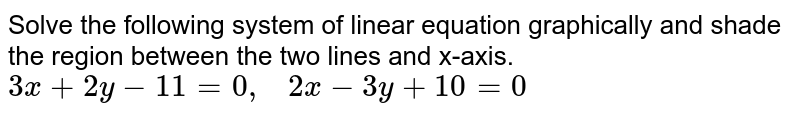 Solve the following   system of linear equation graphically and shade the region between the two   lines and x-axis. `3x+2y-11=0,\ \ \ 2x-3y+10=0`