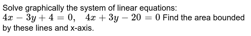 Solve graphically the   system of linear equations: `4x-3y+4=0,\ \ \ 4x+3y-20=0`  Find the area bounded   by these lines and x-axis.