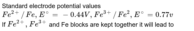 Standard electrode potential values <br> `Fe^(2+)//Fe,E^(@)=-0.44 V , Fe^(3+)//Fe^(2),E^(@)=0.77 v` <br> If `Fe^(2+),Fe^(3+)` and Fe blocks are kept together it will lead to