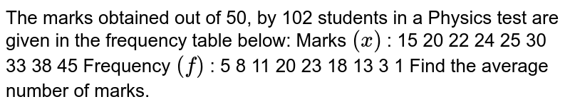 The marks obtained out of 50, by 102 students in a Physics test are   given in the frequency table below: Marks `(x)` : 15 20   22 24 25   30 33 38   45 Frequency `(f)` : 5 8   11 20 23   18 13 3   1 Find the average number of marks.