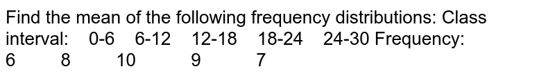 Find the mean of the following frequency distributions: Class interval: 0-6 6-12   12-18 18-24 24-30 Frequency: 6 8 10 9 7