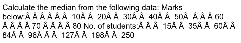 Calculate the median from the following data: Marks below: 10 20   30 40 50 60 70 80 No. of students: 15 35   60 84 96   127 198 250