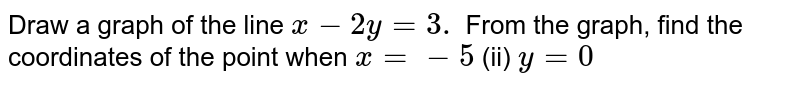 Draw a graph of the   line `x-2y=3.` From the graph, find   the coordinates of the point when `x=-5`  (ii) `y=0`