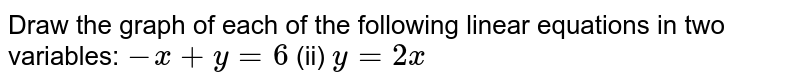 Draw the graph of each   of the following linear equations in two variables: `-x+y=6`  (ii) `y=2x`
