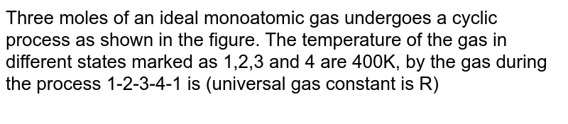 """Three moles of an ideal monoatomic gas undergoes a cyclic process as shown in the figure. The temperature of the gas in different states marked as 1,2,3 and 4 are 400K, by the gas during the process 1-2-3-4-1 is (universal gas constant is R) <br> <img src=""""https://d10lpgp6xz60nq.cloudfront.net/physics_images/NAR_PHY_XI_V06_C01_S01_179_Q01.png"""" width=""""80%"""">"""