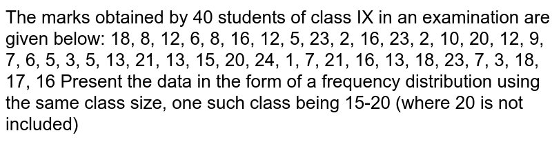The marks   obtained by 40 students of class IX in an examination are given below: 18, 8, 12,   6, 8, 16, 12, 5, 23, 2, 16, 23, 2, 10, 20, 12, 9, 7, 6, 5, 3, 5, 13, 21, 13,   15, 20, 24, 1, 7, 21, 16, 13, 18, 23, 7, 3, 18, 17, 16 Present the   data in the form of a frequency distribution using the same class size, one   such class being 15-20 (where 20 is not included)