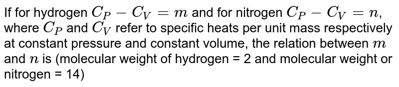 For hydrogen gas `C_(P)=C_(V)=alpha` and for Oxygen gas `C_(P)-C_(V)=b`, where `C_(P)` and `C_(V)` are molar specific heats. Then the relation between 'a' and 'b' is