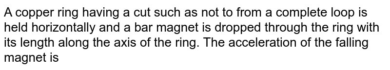 A copper ring having a cut such as not to from a complete loop is held horizontally and a bar magnet is dropped through the ring with its length along the axis of the ring. The acceleration of the falling magnet is