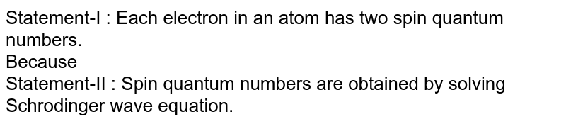 Statement-I : Each electron in an atom has two spin quantum numbers. <br> Because  <br> Statement-II : Spin quantum numbers are obtained by solving Schrodinger wave equation.