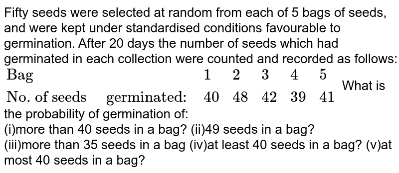 Fifty seeds were   selected at random from each of 5 bags of seeds, and were kept under   standardised conditions favourable to germination. After 20 days the number   of seeds which had germinated in each collection were counted and recorded as   follows:    Bag   1   2   3   4   5     No. of seeds     germinated:   40   48   42   39   41    What is the probability   of germination of: more than 40 seeds is a   bag? 49 seeds in a bag?  more than 35 seeds in a   bag at least 40 seeds in a   bag? at most 40 seeds in a   bag?